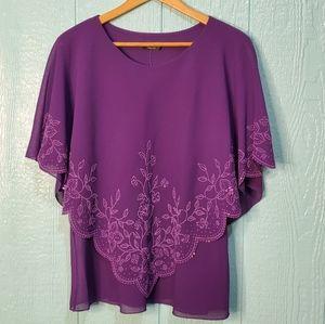 C.O.C Purple skirt suit sequins asymmetrical